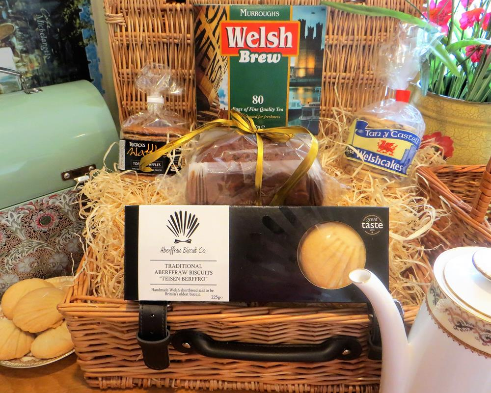 Welsh Afternoon Tea in a Wicker basket